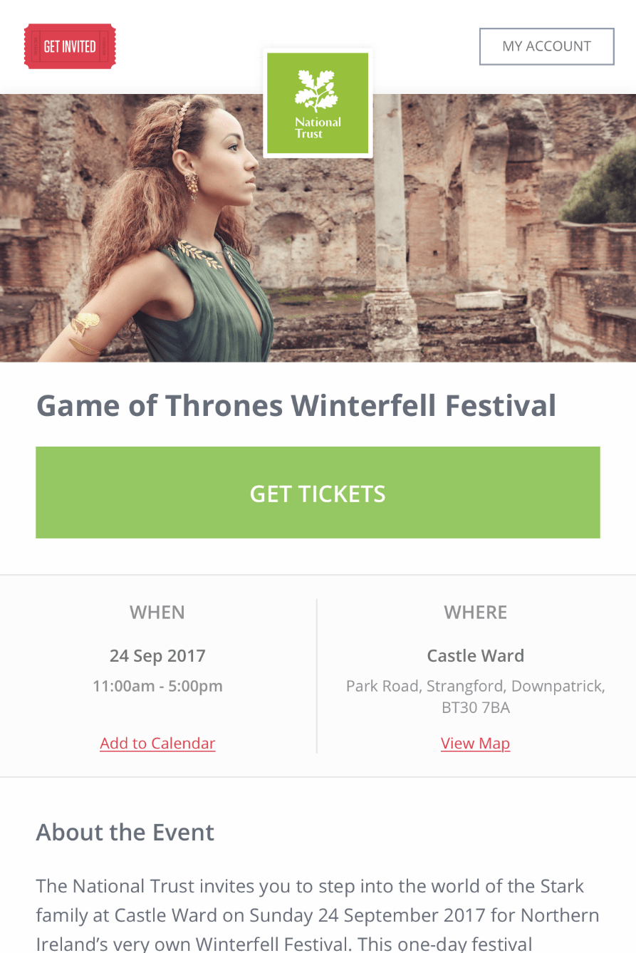 Event Registration Page on Mobile